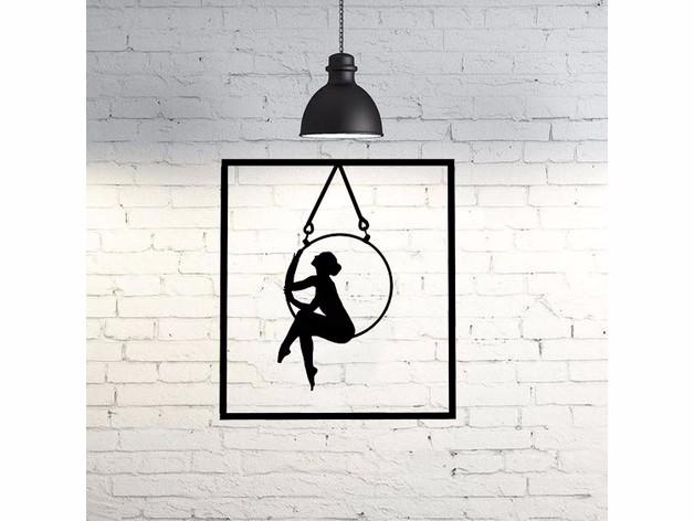 荡秋千的女孩2D墙面艺术画